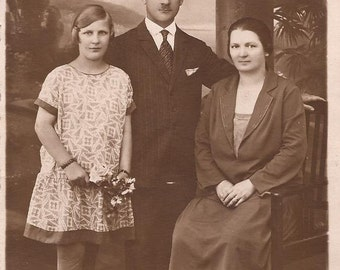 German Family Postcard, 1926 in Summer, Sepia Photo Postcard, J. Fromm Photography Studio, Strasbourg, Germany, Vintage Postcard, Photograph