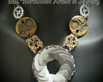 Steampunk chain maille Portal Necklace