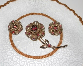 Goldtone Flower Brooch with Red AB Rhinestones & Matching Earrings-Sarah Coventry
