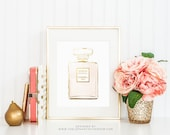 Coco Chanel Gold Bottle print - wall art