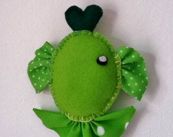 Hanging felt and fabric fish - lime green