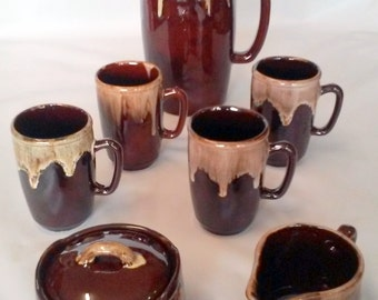 Vintage 1970's Retro Brown Drip-Ware Coffee Pot Cream Covered Sugar & Four Coffee Mugs