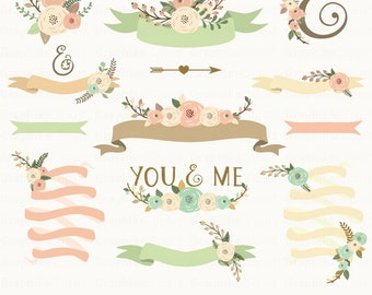 Spring Floral Banners Clip Art Flowers Ribbons Vector Flowers Wedding Clipart 10 Images