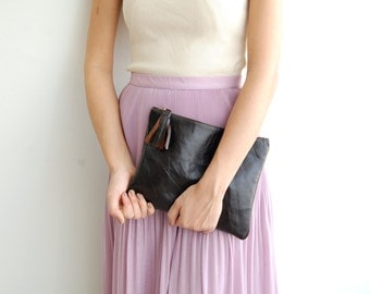 Only one left! Dark Brown bag, BROWN Leather Clutch, brown leather bag, brown Ipad clutch, Brown bag