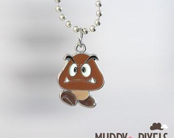 Mario Bros Necklace featuring Goomba
