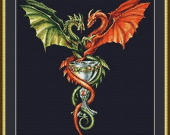 Red and Green Dragons Fantasy Counted Cross Stitch Pattern in PDF for Instant Download