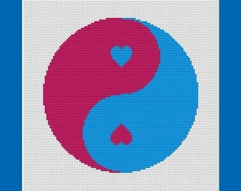 Pink and Blue Yin Yang Balanced Love Counted Cross Stitch Pattern in PDF for Instant Download