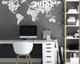 World map outlines wall decal continents decal large typography world map country names world map decal large world map vinyl wall gumiabroncs Image collections