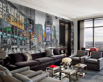 New York Lights   Wall Mural   Repositionable Adhesive Fabric   Self Adhesive  Wall Covering
