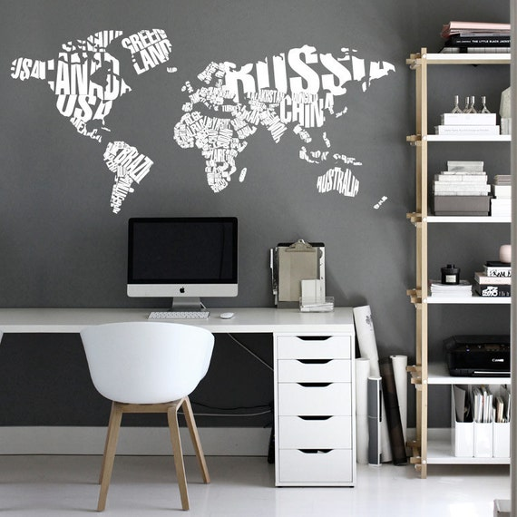 Typography world map country names world map decal large like this item gumiabroncs Images