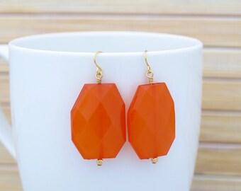 Burnt Orange Drop Earrings, Statement Making Dangle Bright Orange Large Chunky Bead Earrings, Colorful Big Bold Chunky Jewelry