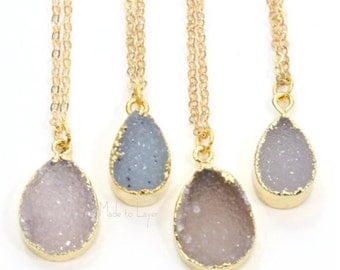 Druzy Necklace Small Raw Shape Geode Druzy Necklace | Gold Filled Tear Drop Shape Geode  | Boho Bohemian Layered Layering
