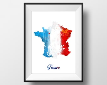 France Watercolor painting Map, Art Print