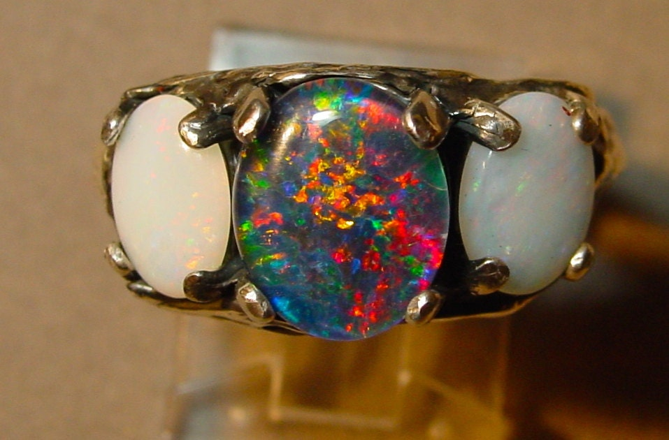Genuine Australian Opal Engagement ring Three by AmyKJewels