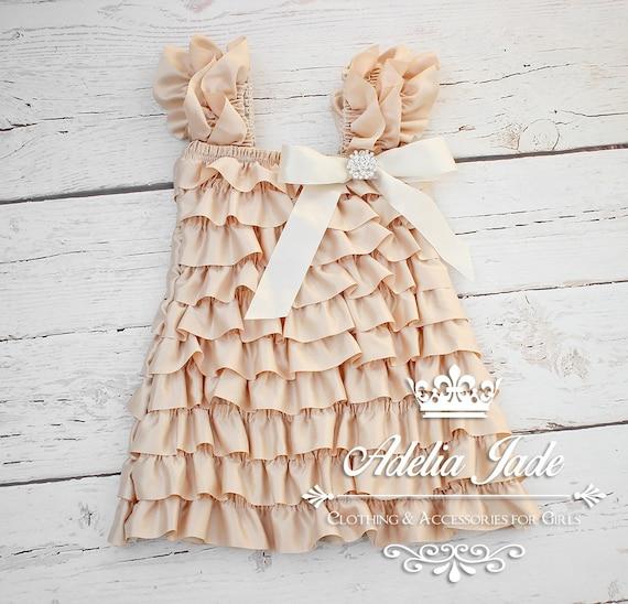 Ruffle Baby Dress Cream Flower Girl Dress Satin Ruffle Petti