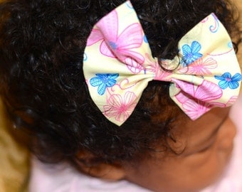 Pink ,Yellow and Blue Flower Power Print Hair Bow