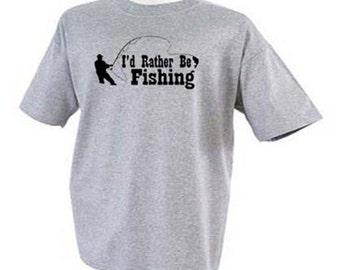 I'd RATHER BE FISHING Fisherman Sport T-Shirt