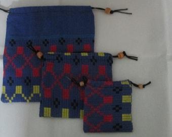 Draw string bags, set of 3 drawstring bags , handwoven/handloom fabric bags,cotton drawstring bags,blue drawstring pouches,goemetric pattern