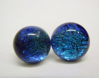 Round FROSTY BLUE TEAL Dichroic  Glass Stud Earrings  - Surgical Steel. Item #61