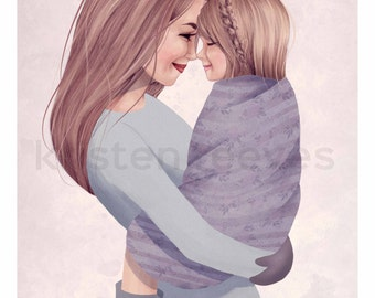 "8x10 ""Mother and Daughter"" Children's Wall Art Print - Kids Girl Nursery Room Decor"