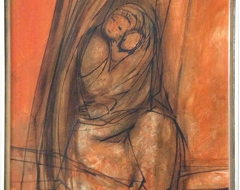 Mid Century Expressionist painting, Mother & Child