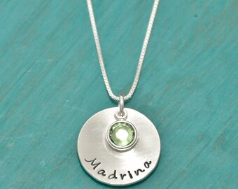 Madrina hand stamped necklace, godmother, personalized godmother necklace, sterling silver necklace, godmother gift