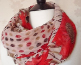 Poppy - floral patterned red and beige dotty pretty chiffon scarf