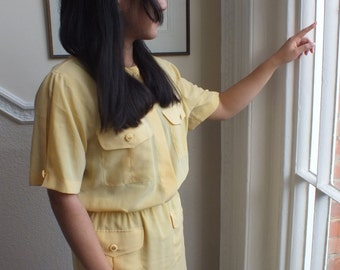 Sale! Vintage  Pale Yellow  Safari Style Shirt Dress /1980s / Solange Mondor/ Short Sleeves