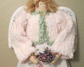 Wall Decoration , Spring Angel , Hanging Wall Angel , Embroidered Fabric , Angel Wall Art, Chenille Fabric