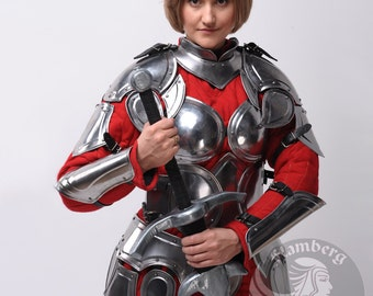 "Larp Female Fantasy Costume ""Flamberg"" steel  armor: arm bracers, pauldrons, gorget, corset (halve cuirass+bust), skirt, greaves"