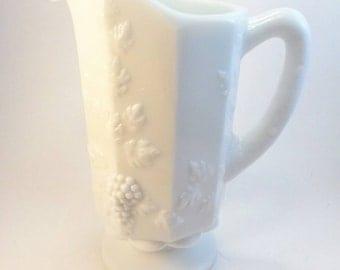 SALE Vintage Westmoreland paneled grape milk glass pitcher