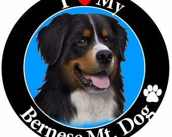I Love My Bernese Mt. Dog Car Magnet With Realistic Looking Bernese Mt. Dog Photograph In The Center