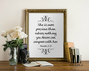 Instant 'She is more precious than rubies' Proverb 3:15 Art Print 8x10 Printable File Typography Inspirational Art Nursery Art