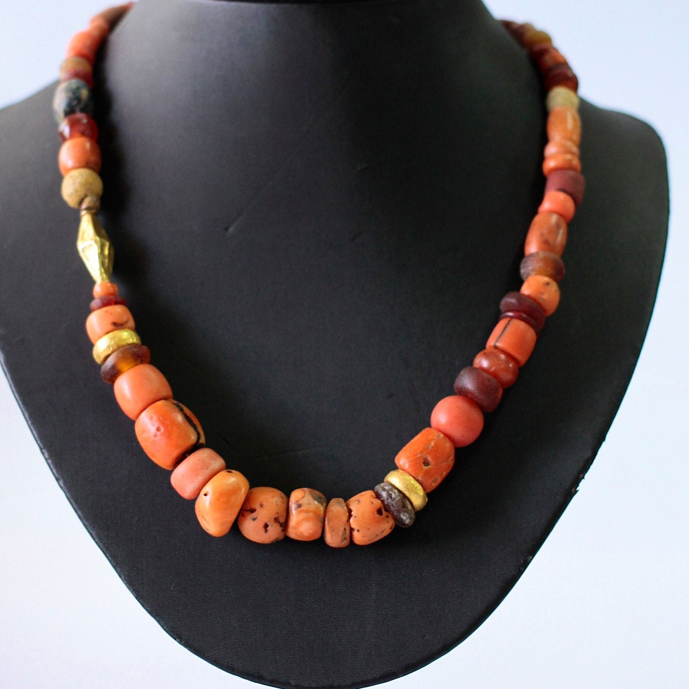 Necklace Beads: Ancient Coral Necklace Red Coral Bead Necklace Natural Coral