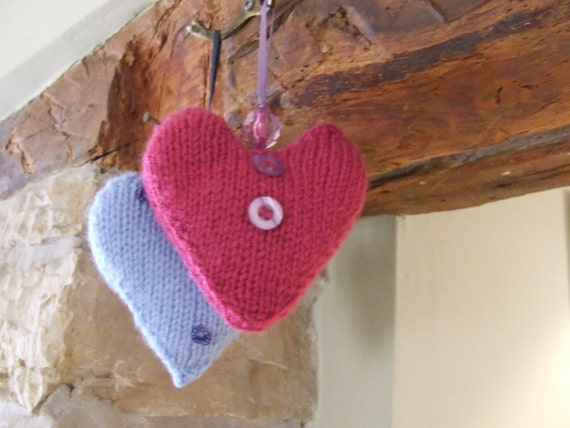 Hanging Heart Knitting Pattern : Knit hanging heart Decorative heart Hand knitted by WoolieBits