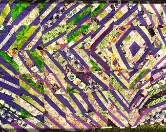 """Modern Baby Art Quilt in Purple and Green, Asian-themed fabrics, 36"""" x 47"""""""