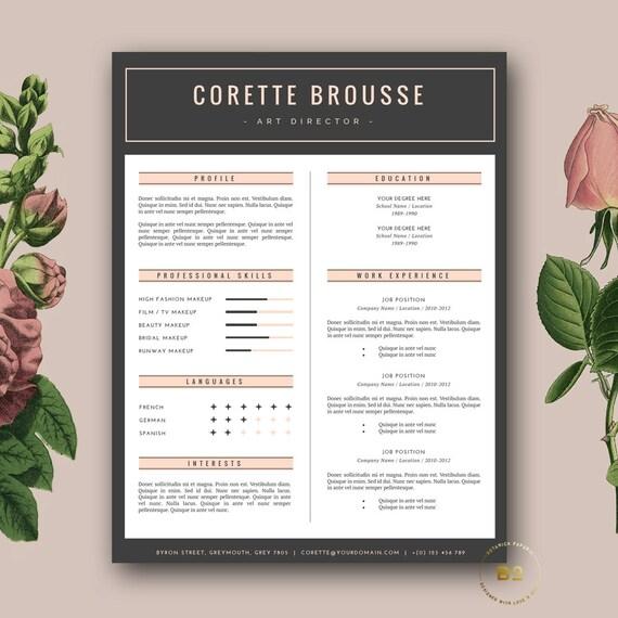 Creative Resume Template Feminine Resume FREE Cover Letter