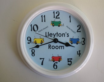 Honk Honk CARS Personalized Nursery Wall Clock