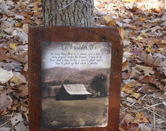 Rustic reclaimed wood panel/sign with vintage barn image with scripture