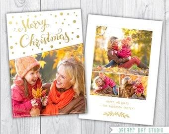 christmas photo card / christmas photo template / Gold merry christmas template / photo template photographers / PDF flat card