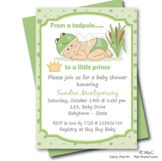 frog prince baby shower invitation green little prince baby shower