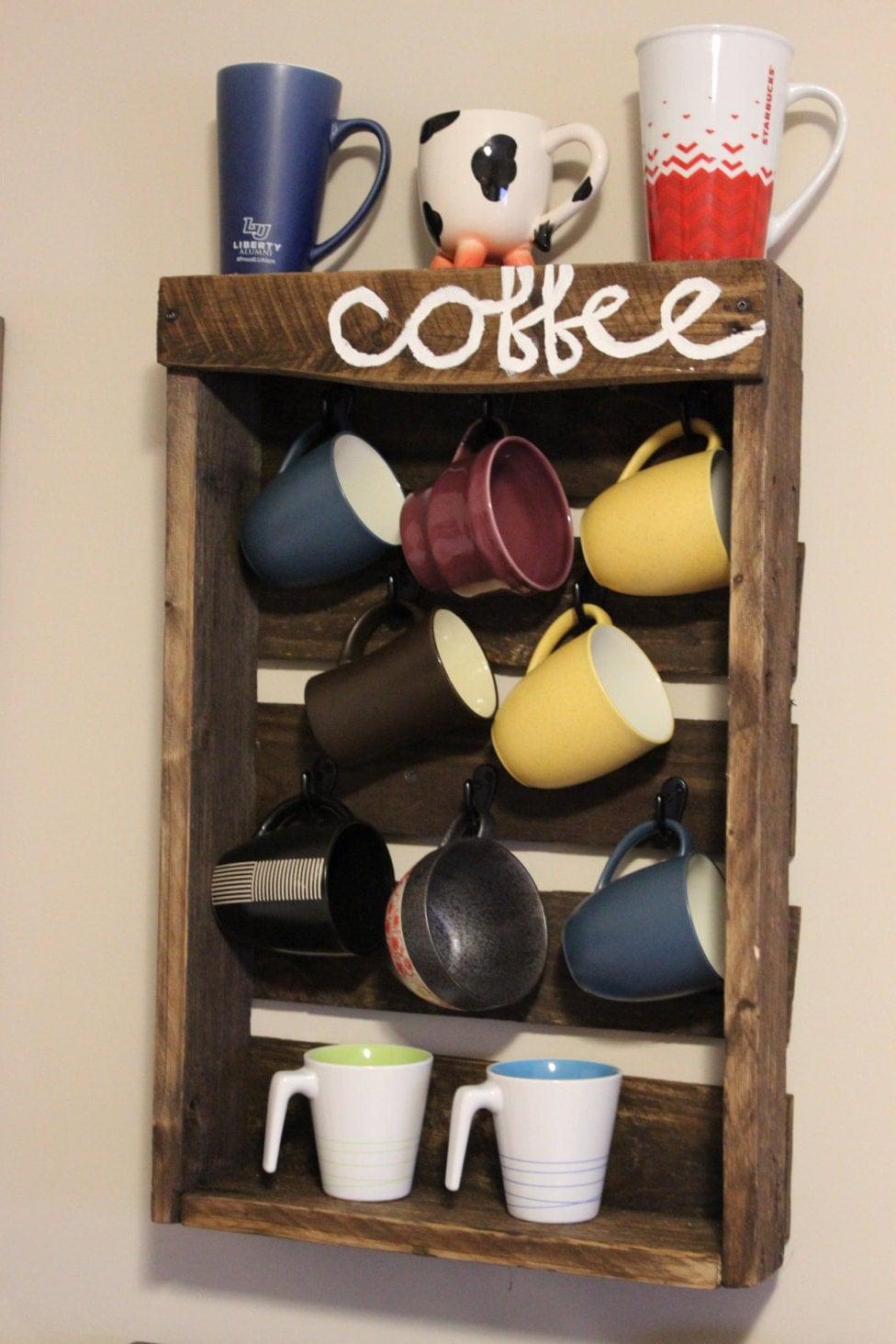 Rustic pallet coffee mug rack holder for Coffee mug display rack