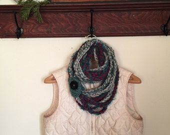 SALE- Now 10! Multi-colored crocheted infinity scarf