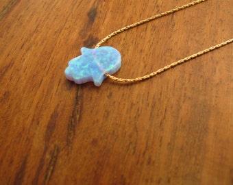 Gold necklace, hamsa necklace, opal hamsa necklace, 14k gold filled, luck necklace, blue hamsa necklace, hand necklace