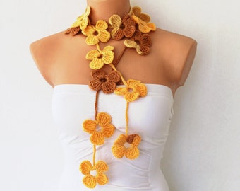 Yellow and Beige Flower Scarf Hand Crochet Lariat Scarf