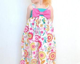 Girls Maxi Dress, Toddler Girls Dress, Pink, Turquoise, Summer Maxi Dress With Bow, Spring Dress, Baby Girl Maxi Dress, Long Dress, Custom