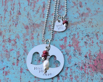 Perfect for a Mother's day gift! Mother-daughter love you necklace set