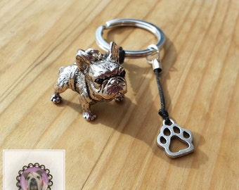 Beautiful Keychain with French Bulldog, Dog, Paw, Silver, gift