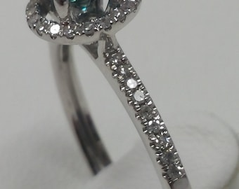 0.92 Ct. Blue and White Diamond 14K White Gold Engagement Ring