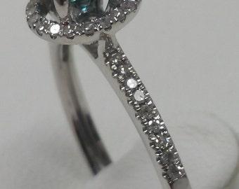 0.92 Ct. Blue and White Diamond 14K White Gold Engagement Ring